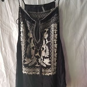 Black Embroidery tank top summer BoHo THML